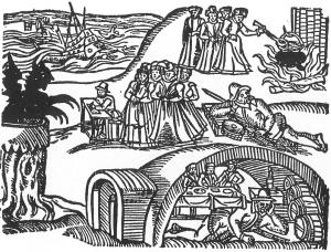 Woodcut of a witch trial